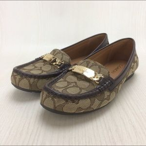 Coach Fabric Logo Patterned Loafers